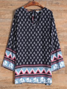 Long Sleeve Elephant Printed Dress