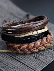 Bamboo Woven Faux Leather Bracelet Set - Multicolor