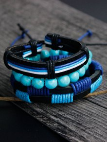 Artuficial Turquoise Leather Woven Bracelet Set - Charm