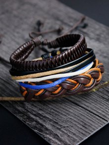 PU Rope Woven Layered Bracelet Set - Multicolor