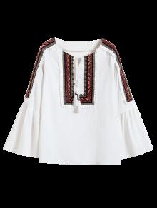 Linen Blend Bell Sleeve Blouse