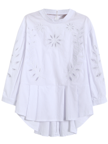 Embroidered Cutout Peplum Blouse - White M