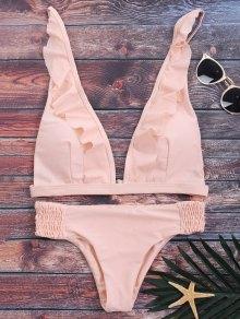 Bikini Volantes Cuello V Largo Plisado - Rosa S