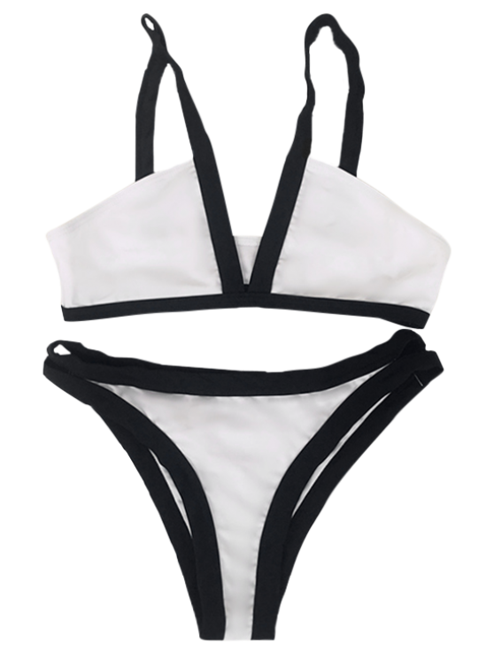 Hit Color Cami V Neck Bikini Set - WHITE S Mobile