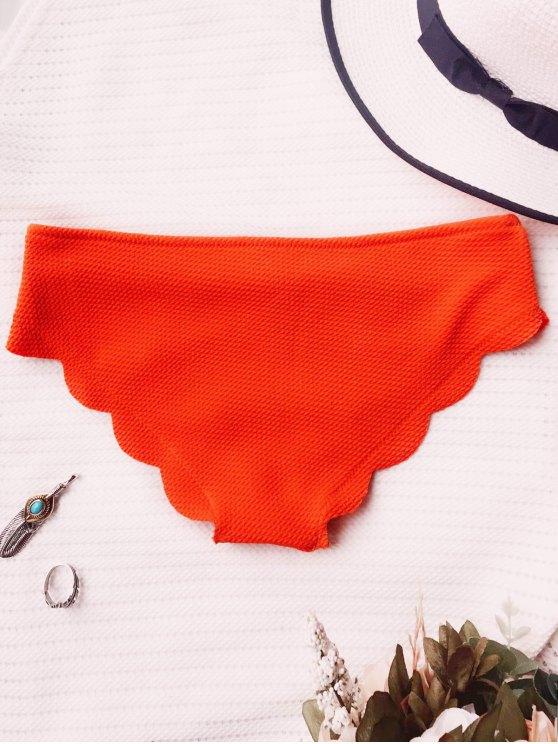 Scalloped Bikini Bottoms - ORANGE L Mobile