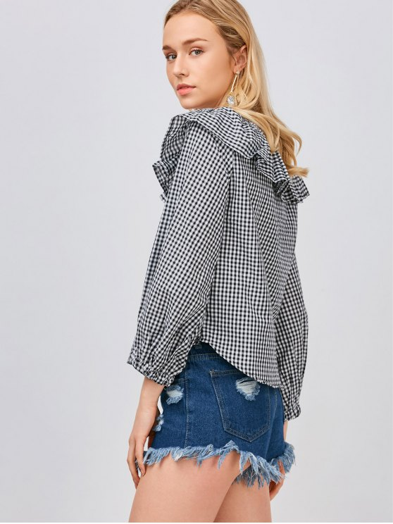Gingham Check Ruffle Blouse - WHITE AND BLACK L Mobile