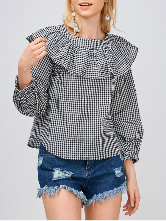 best Gingham Check Ruffle Blouse - WHITE AND BLACK L