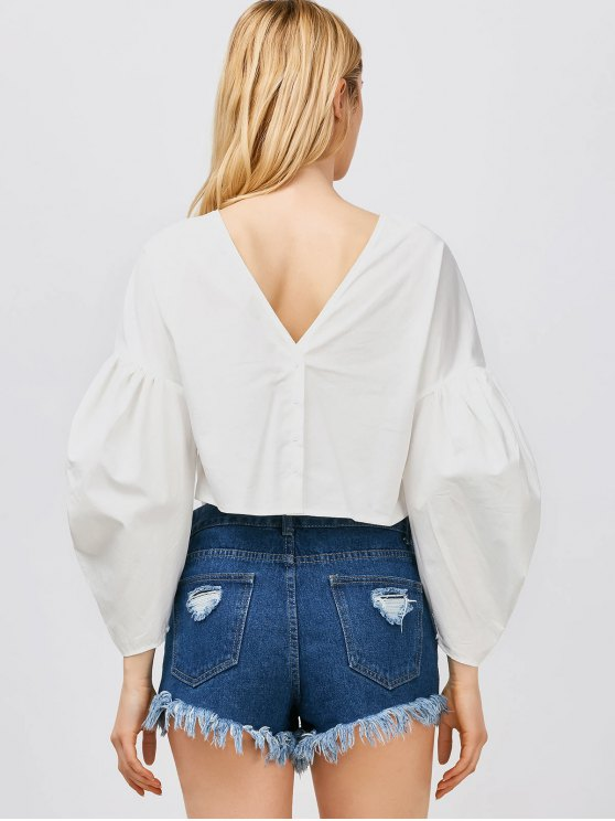 Puff Sleeves Cropped Button Up Blouse - WHITE L Mobile