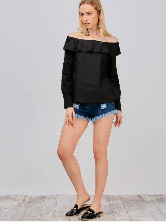 Off Shoulder Oversized Blouse - BLACK L Mobile