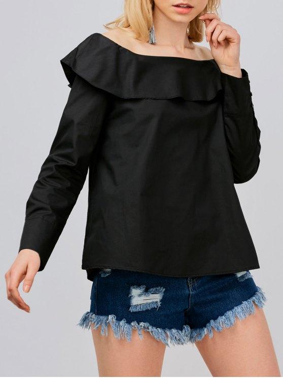 Hombro de la blusa de gran tamaño - Negro S
