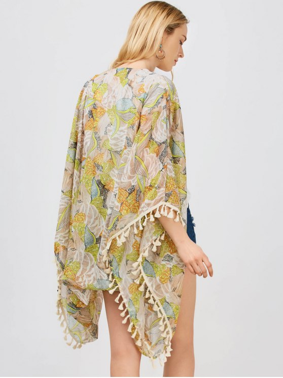 Tassels Floral Kimono - FLORAL L Mobile