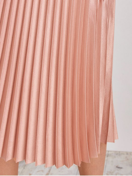 Metallic Pleated Skirt - PINKBEIGE L Mobile
