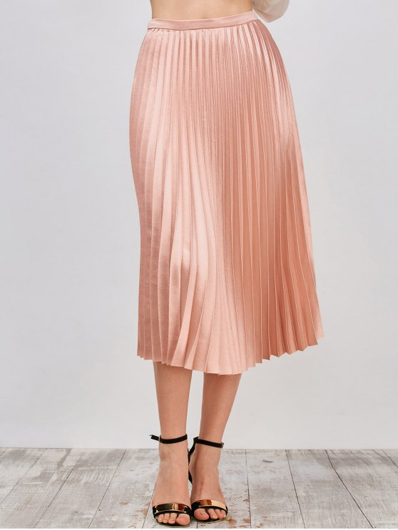outfits Metallic Pleated Skirt - PINKBEIGE L