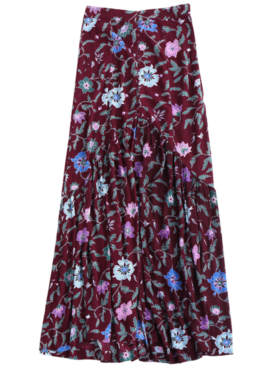 Maxi Buttoned Slit Floral Skirt - COLORMIX S Mobile