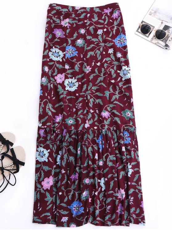 Maxi Buttoned Slit Floral Skirt - COLORMIX S Mobile