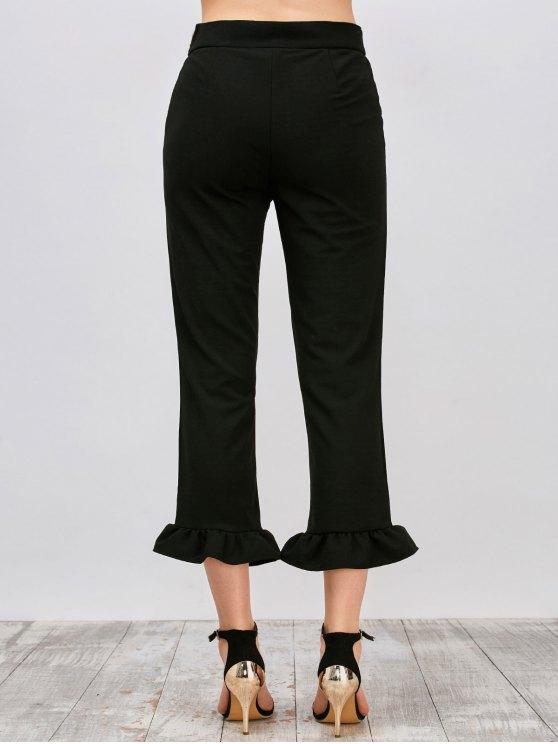 Ruffle Hem Capri Pants - BLACK L Mobile