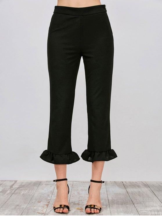 chic Ruffle Hem Capri Pants - BLACK M