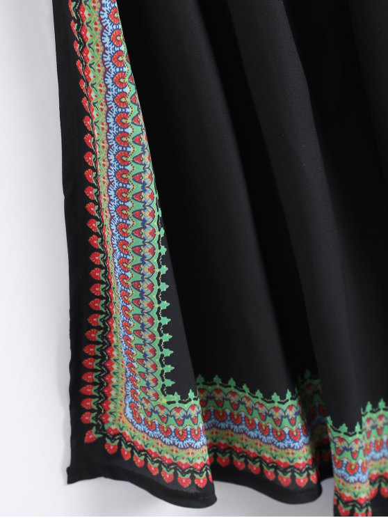 Printed Asymmetrical Beach Dress - BLACK M Mobile