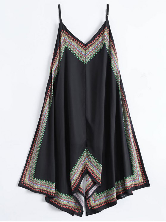 Printed Asymmetrical Beach Dress - BLACK L Mobile