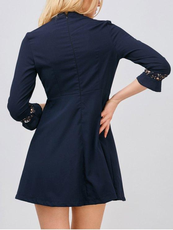 Lace Panel Stand Collar Skater Dress - PURPLISH BLUE L Mobile