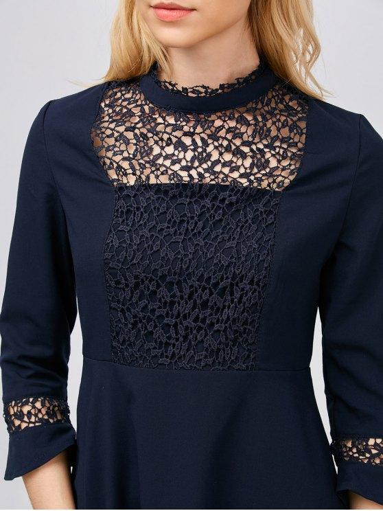 Lace Panel Stand Collar Skater Dress - PURPLISH BLUE XS Mobile