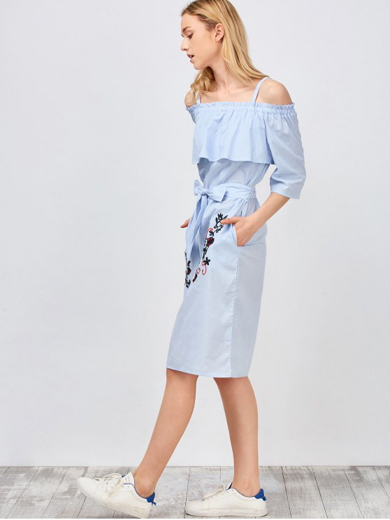 Slip Floral Embroidered Ruffle Dress With Belt - LIGHT BLUE L Mobile