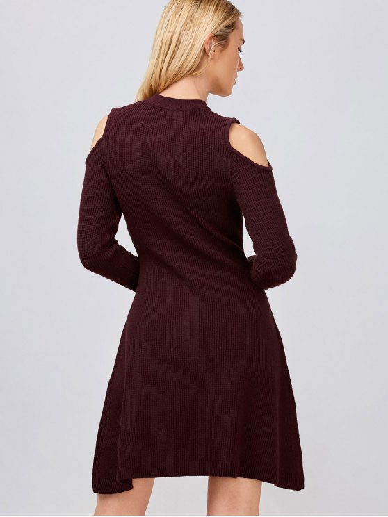 Cold Shoulder Knitted Dress - WINE RED L Mobile