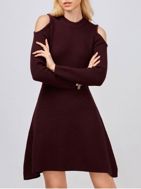 Cold Shoulder Knitted Dress - WINE RED L Mobile