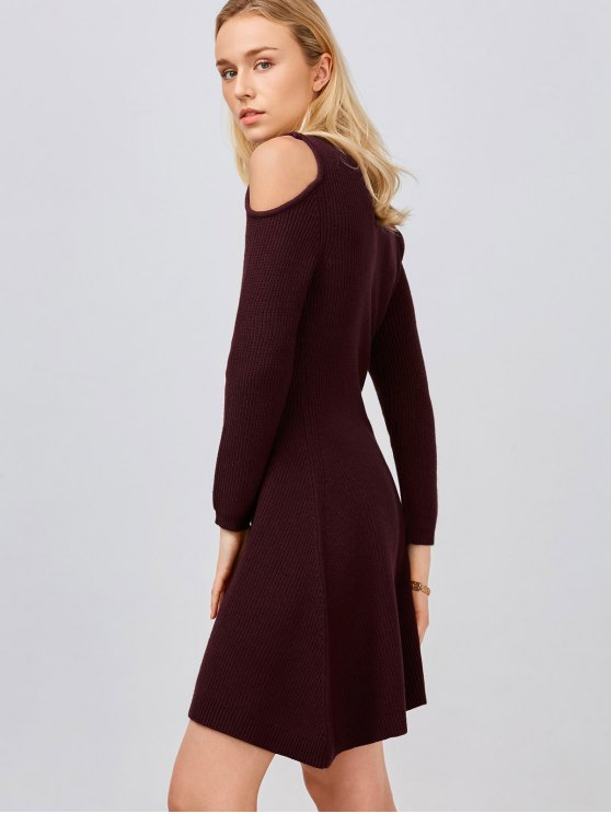 Cold Shoulder Knitted Dress - WINE RED S Mobile