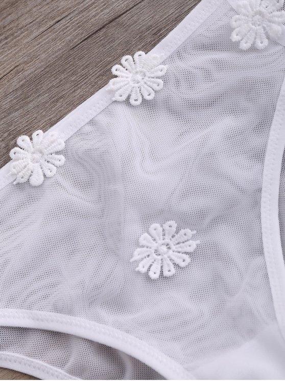 Strappy Mesh Daisy Bra Set - WHITE S Mobile