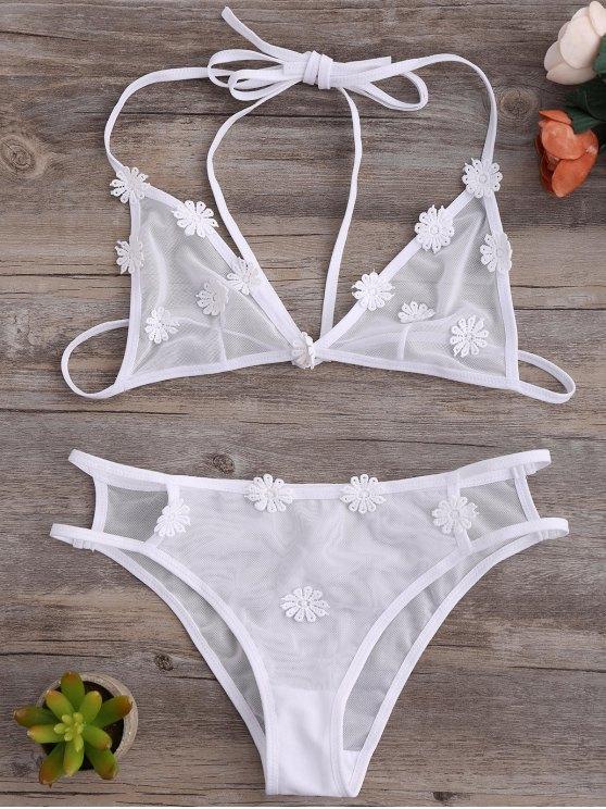 fashion Strappy Mesh Daisy Bra Set - WHITE S