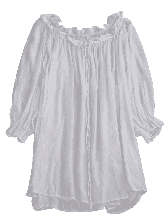 Ruffle Tie Neck Draped Cover Up - WHITE ONE SIZE Mobile