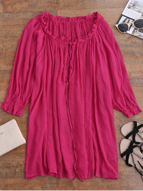 women's Ruffle Tie Neck Draped Cover Up - SANGRIA ONE SIZE