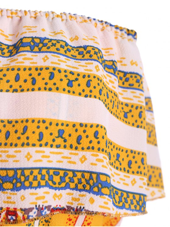 Ruffles Tribal Print Tube Jumpsuit - YELLOW S Mobile