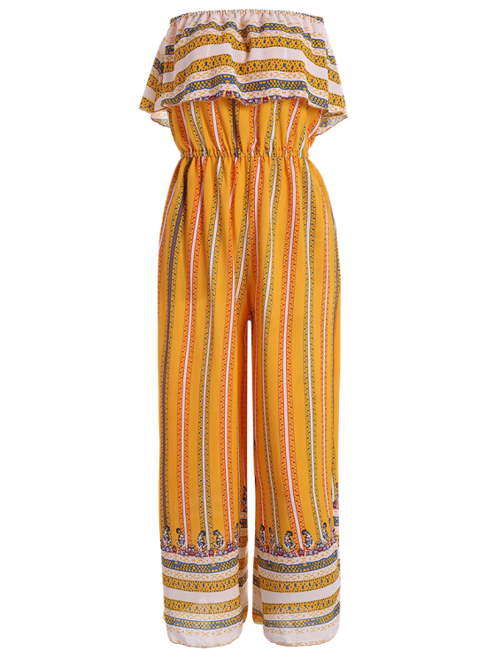 outfits Ruffles Tribal Print Tube Jumpsuit - YELLOW M