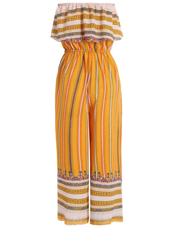 Ruffles Tribal Print Tube Jumpsuit - YELLOW L Mobile