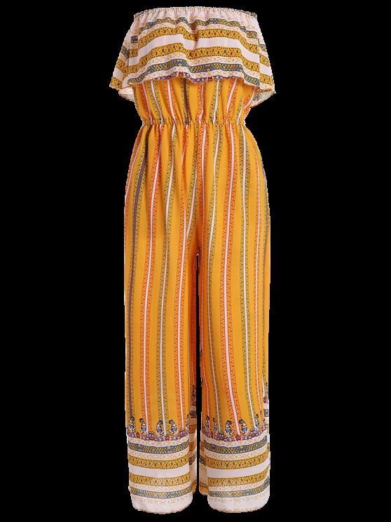 shop Ruffles Tribal Print Tube Jumpsuit - YELLOW L