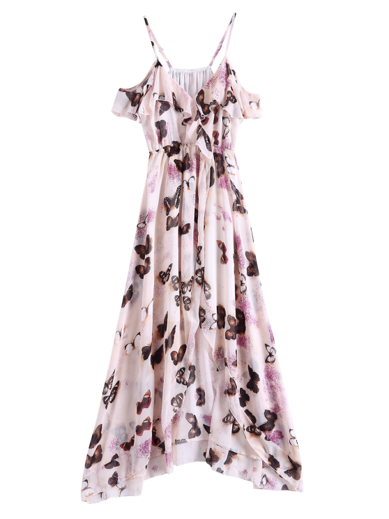 Butterfly Cold Shoulder Chiffon Dress - PINK M Mobile