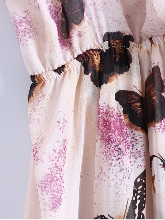 Butterfly Cold Shoulder Chiffon Dress - PINK L Mobile