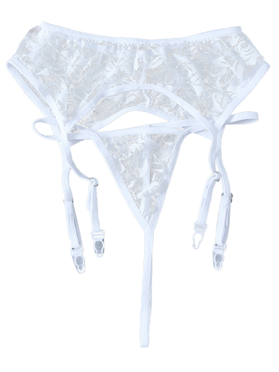 Sheer Lace Garters and Thong Briefs - WHITE ONE SIZE Mobile