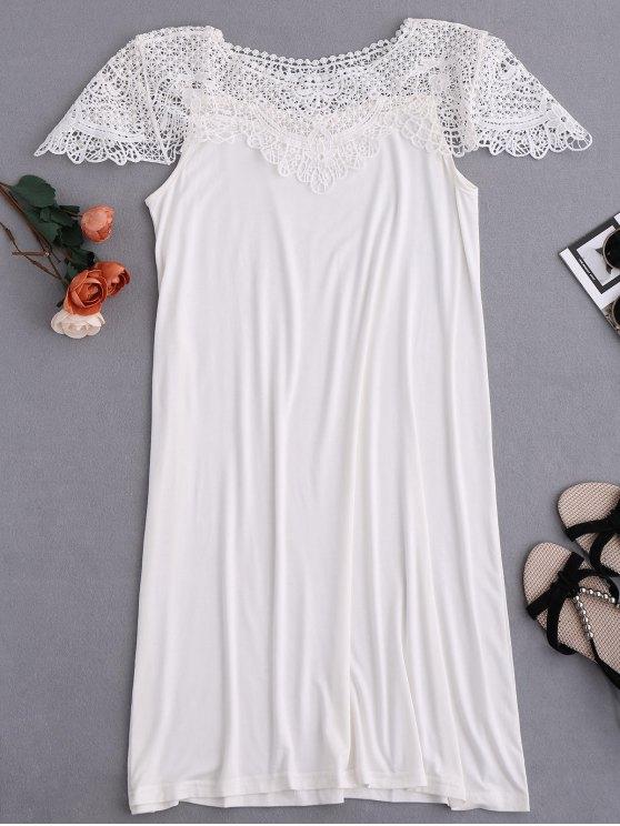 women Cape Sleeve Lace Panel Babydoll - WHITE M
