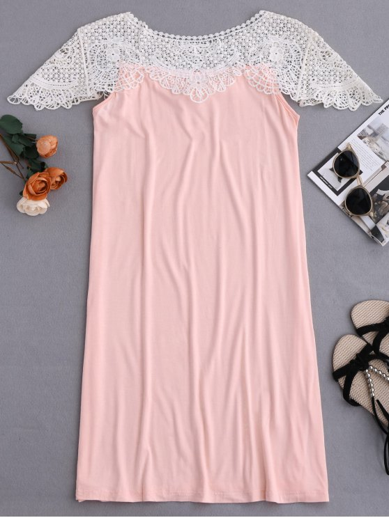 Cape Sleeve Lace Panel Babydoll - PINK XL Mobile