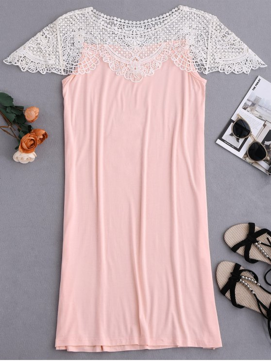 outfit Cape Sleeve Lace Panel Babydoll - PINK M