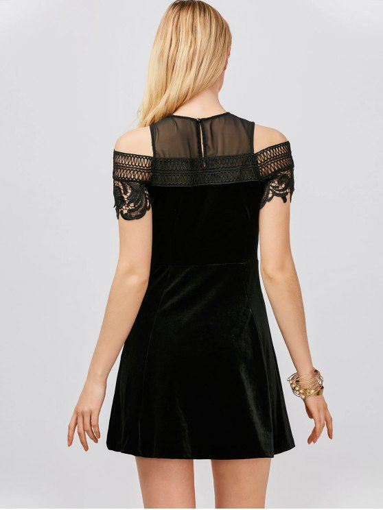 Lace Insert Cold Shoulder Mini Dress - BLACK L Mobile