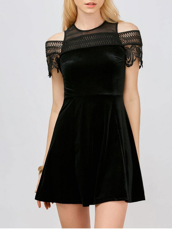 affordable Lace Insert Cold Shoulder Mini Dress - BLACK S