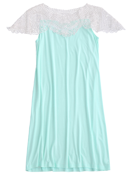 Cape Sleeve Lace Panel Babydoll - LIGHT GREEN XL Mobile