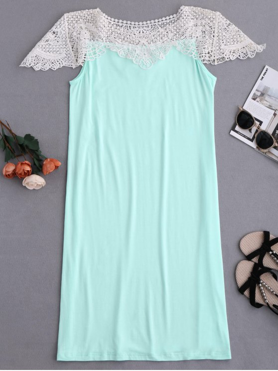 Cape Sleeve Lace Panel Babydoll - LIGHT GREEN M Mobile