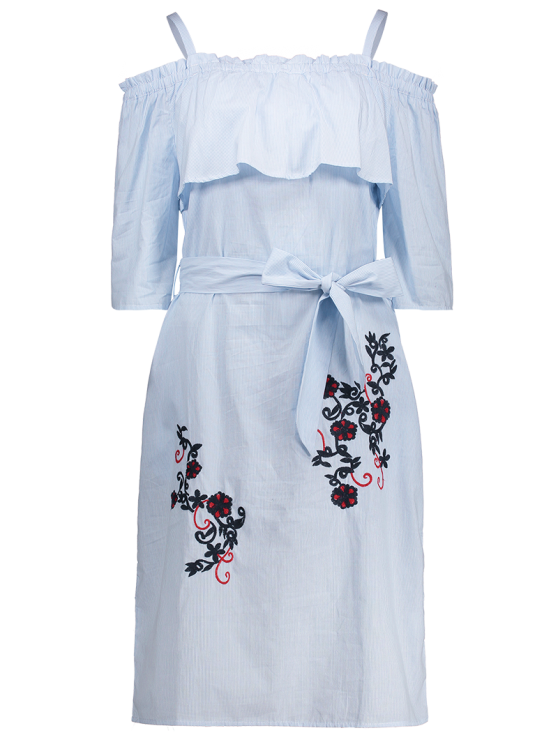 Slip Floral Embroidered Ruffle Dress With Belt - LIGHT BLUE S Mobile