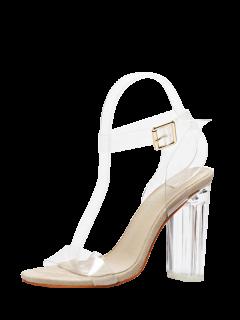 Transparent Plastic Clear Heel Ankle Strap Sandals - Apricot 38