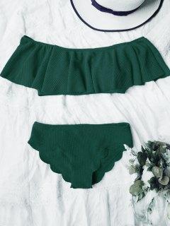 Scalloped Off The Shoulder Bikini Set - Deep Green L